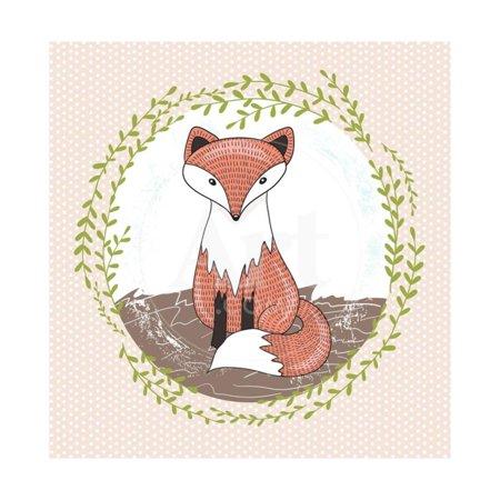 Cute Little Fox Illustration for Children. Print Wall Art By cherry blossom (Cherry Blossom Illustration)