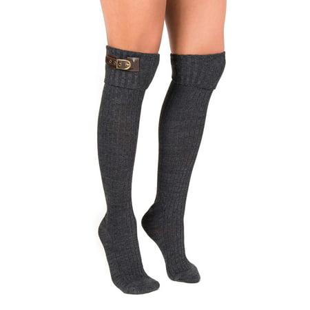 MUK LUKS® Women's 3 Pair Buckle Cuff Over the Knee Socks