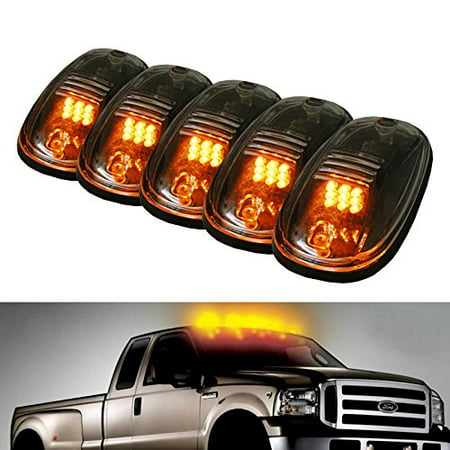 iJDMTOY 5pcs Amber LED Cab Roof Top Marker Running Lights For Truck SUV 4x4 (Clear Lens Lamps)