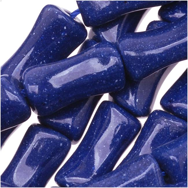 Dark Lapis Blue Magnesite (Dyed) Bamboo Bone Shaped Beads 13mm - 16 Inch Strand