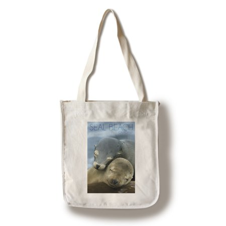 Seal Beach, California - Sea Lions Cuddle - Lantern Press Photography (100% Cotton Tote Bag - Reusable) - California Tote Bag