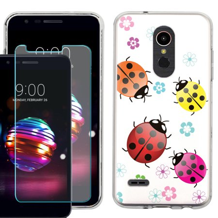 Phone Case for LG Premier Pro LTE / LG K30, Slim-Fit TPU Case with Tempered Glass Screen Protector, by OneToughShield ® - Ladybug