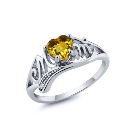 (0.47 Ct Heart Shape Yellow Citrine and White Topaz Sterling Silver Mom Ring)