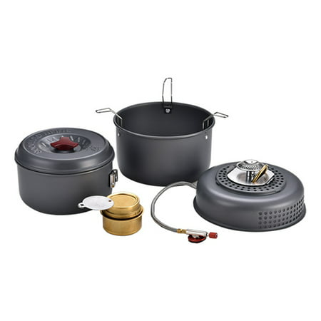 5 PCS Outdoor Camping Cooking Set Portable Cookware Cookout Utensil Gas Alcohol Stove Set Windproof Boiler Cradle Pots for 1-2 (Best Cookware For Gas Stove Cooking)