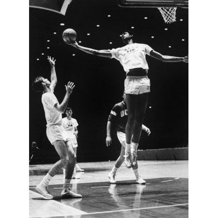 Kareem Abdul Jabbar  1947   Nn Ferdinand Lewis Alcindor American Basketball Player Practicing With His Ucla Teammates At Freedom Hall On Campus 1969 Rolled Canvas Art     18 X 24
