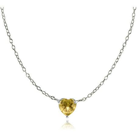 Citrine Sterling Silver Small Dainty Heart Choker Necklace