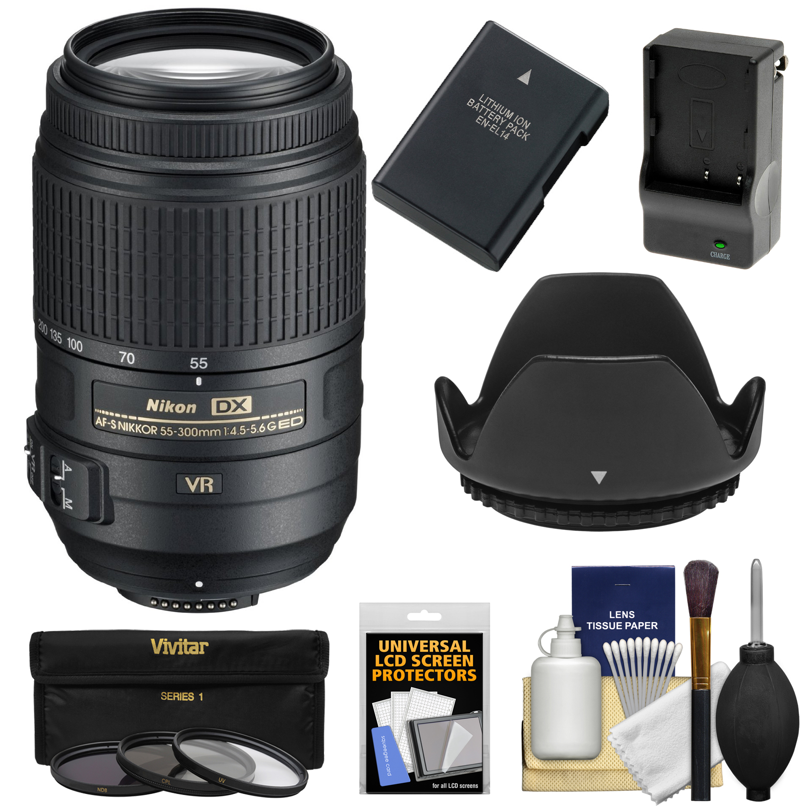 Nikon 55-300mm f/4.5-5.6G VR DX AF-S ED Zoom-Nikkor Lens with EN-EL14 Battery/Charger + 3 Filters + Hood + Kit for D3200, D3300, D5300, D5500 Cameras