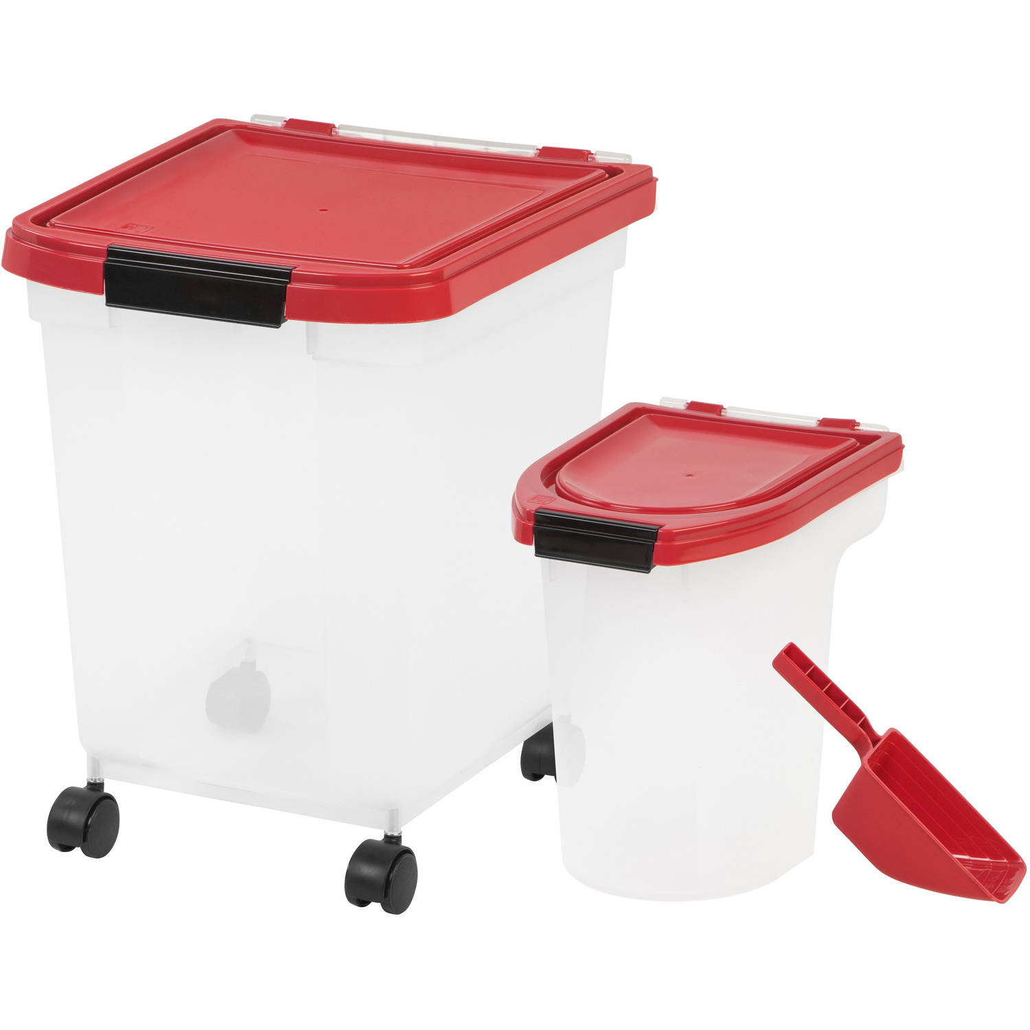 IRIS 3-Piece Airtight Food Container Combo, Red