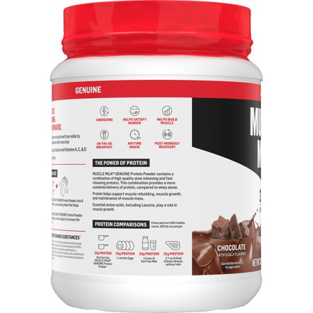 Muscle Milk Genuine Protein Powder, 32g Protein, Chocolate, 1.93 Pound, 12 Servings