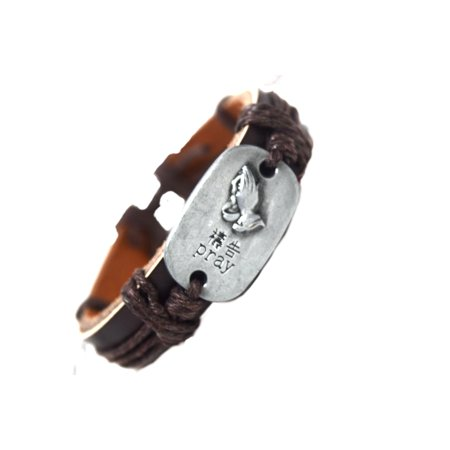 - Prayer Praying Hands Dark Brown and Brown Leather Bracelet Christian Religious Jewelry, J-B2