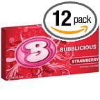 144 PACKS : BUBBLICIOUS GUM STRAWBERRY 10 pcs Each