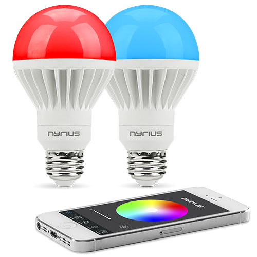 Nyrius Wireless Smart LED Multicolor Light Bulb (2 PACK) for Smartphone, iOS & Android App Controls On\/Off, Scheduling