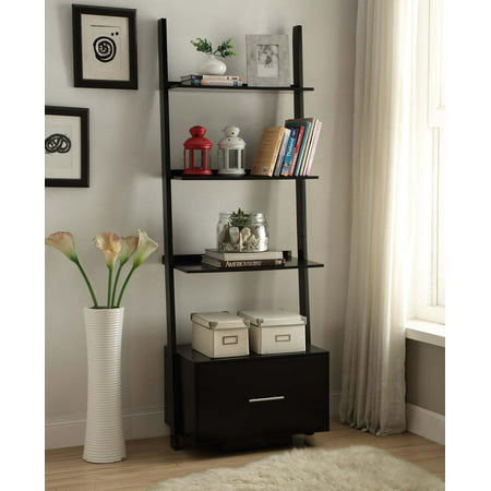 Convenience Concepts American Heritage Ladder Bookcase with File - American Spirit Bookcase