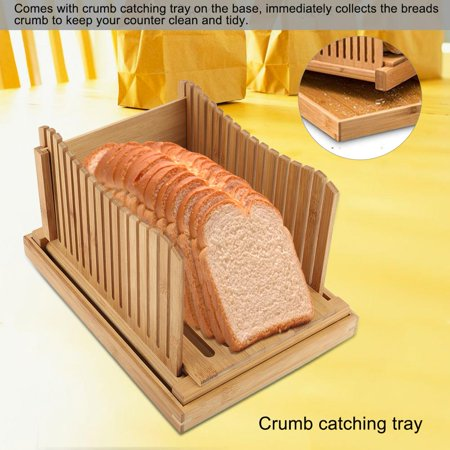 Qiilu Foldable Bamboo Bread Slicer Guide with Crumb Catching Tray, Bamboo Bread Slicer Guide,Bread Slicer Guide - image 1 of 13