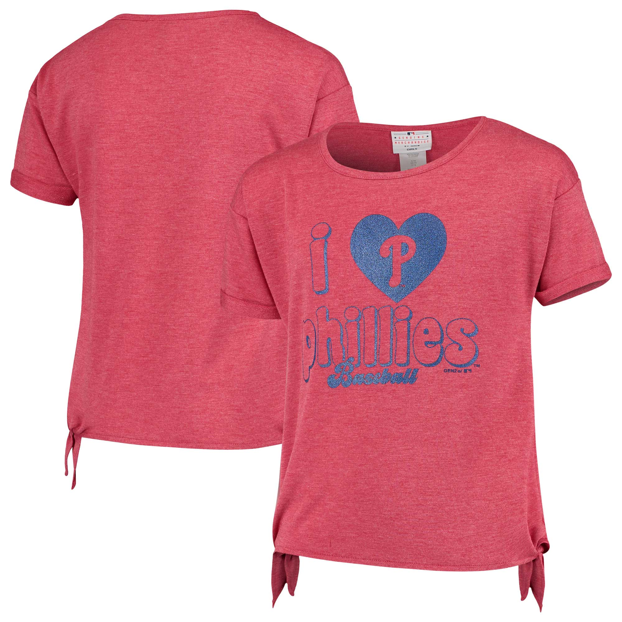 Philadelphia Phillies Girls Youth Love Side Tri-Blend Tie T-Shirt - Heathered Red