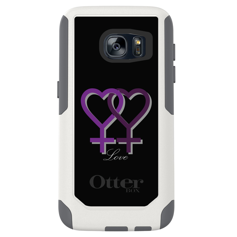 DistinctInk™ Custom White OtterBox Commuter Series Case for Samsung Galaxy S7 - Lesbian Purple Symbols Love