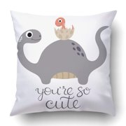 WOPOP Pink Cute Happy Dinosaur With Baby Dino White Adorable Amazing Animal Cartoon Pillowcase Cover Cushion 18x18 inch