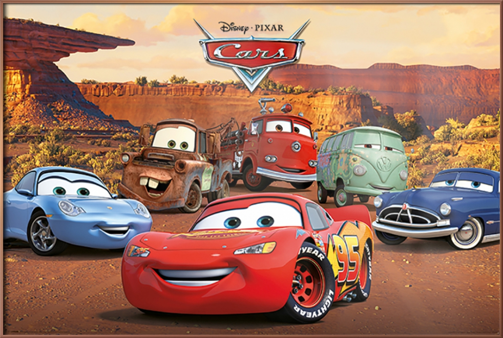 cars  framed disneypixar movie poster characters