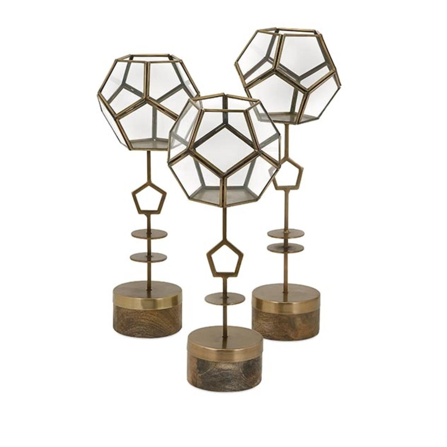 Set of 3 Contemporary Glass Geodesic Bowl and Mango Wood Terrarium Plant Stands 18""