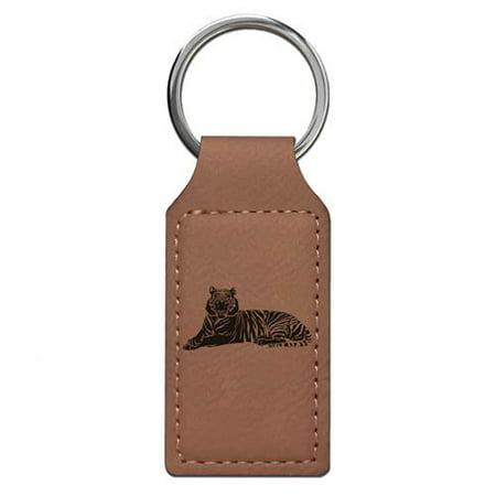 Keychain - Tiger (Dark Brown Rectangle)