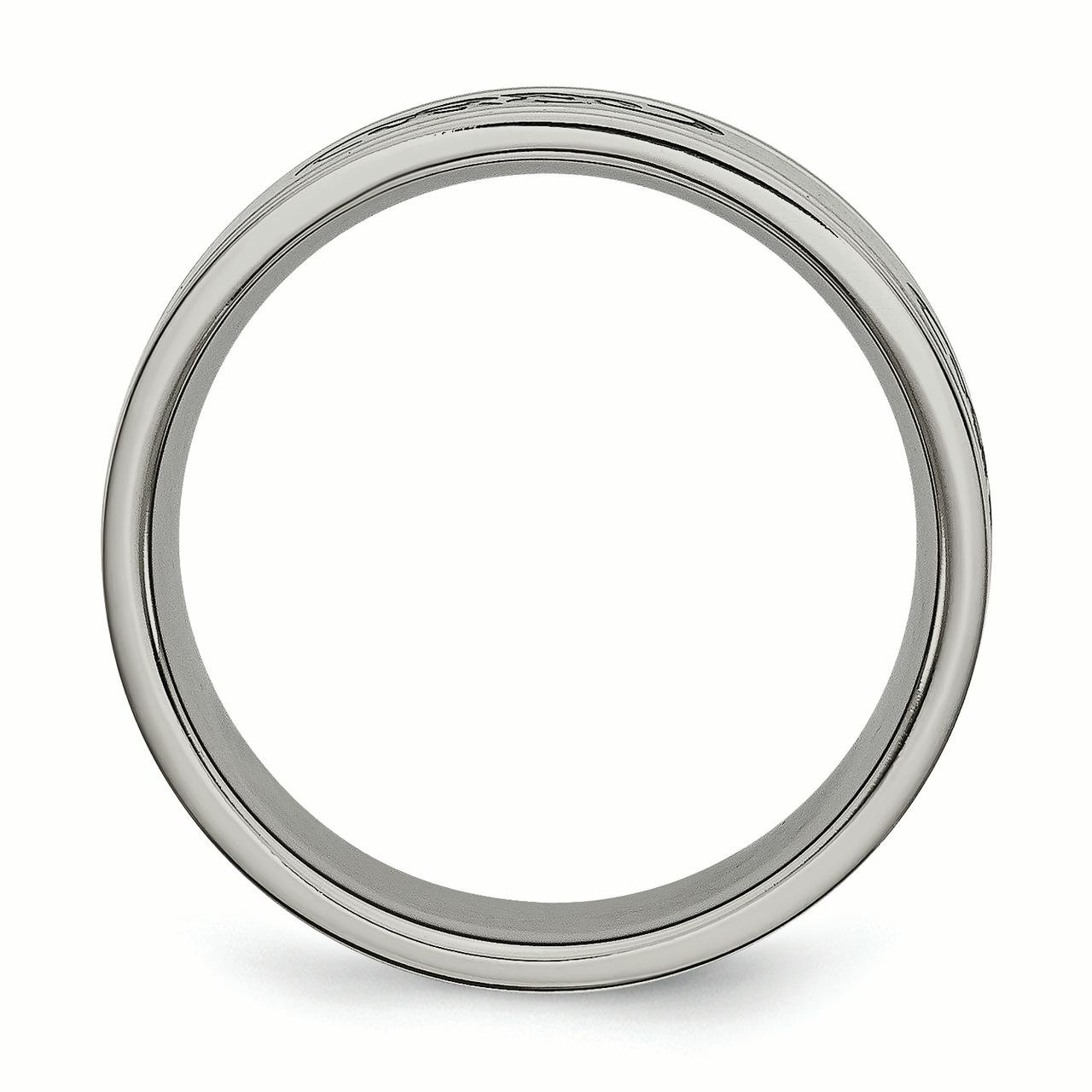 Titanium Black Rubber Ridged Edge 7mm Brushed Wedding Ring Band Size 8.50 Fancy Engagement & Wedding