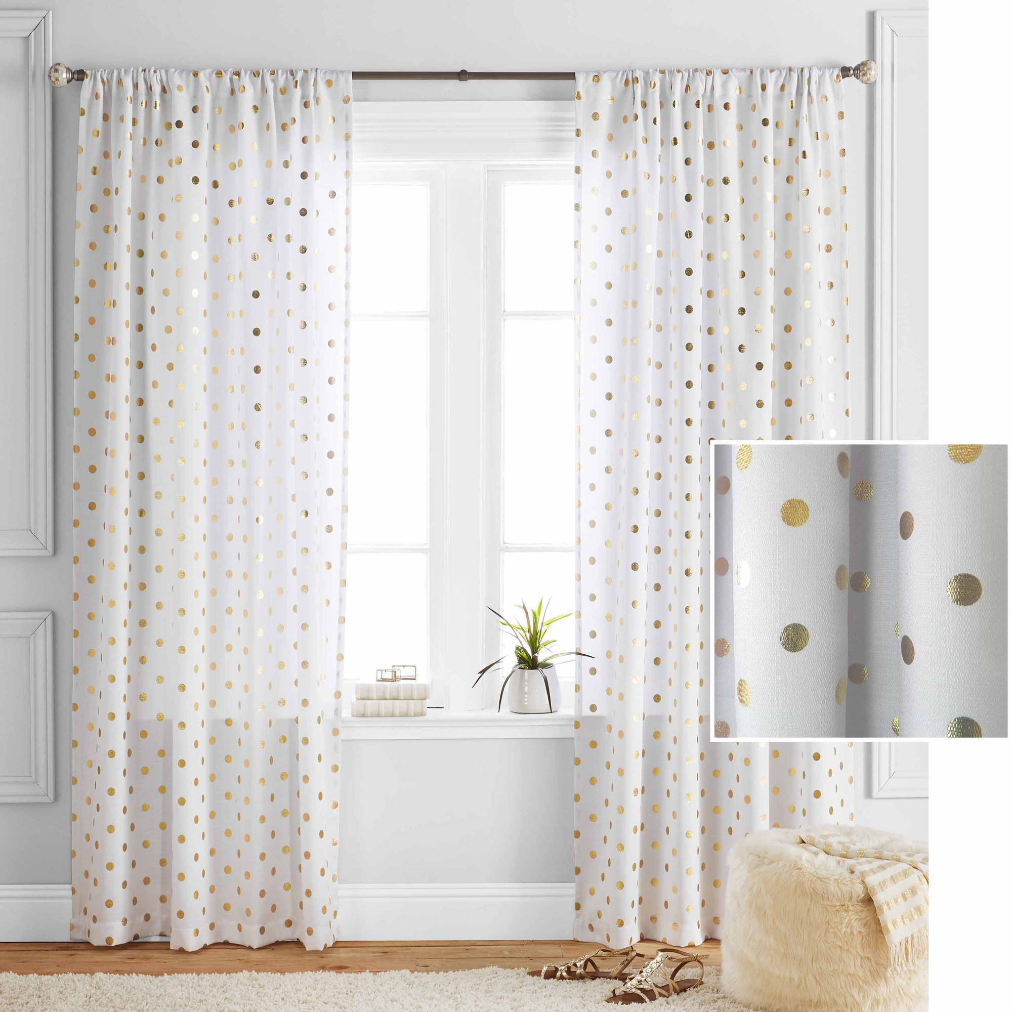 Better Homes And Gardens Polka Dots Curtain Panel