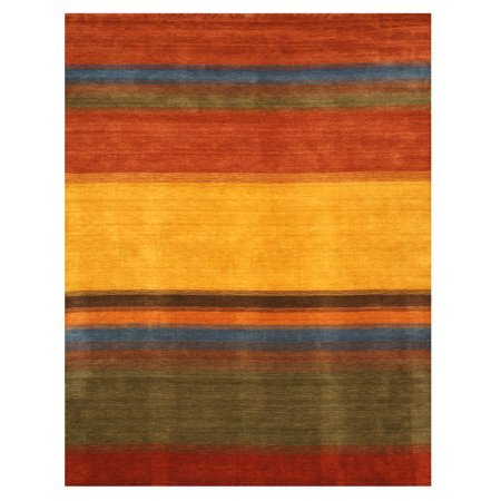 Handmade Wool Multicolored Contemporary Stripe Gabbeh Rug