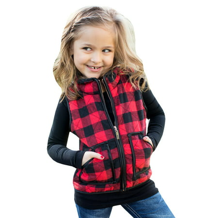 Children Plaid Pattern Vest Wear Sleeveless Casual Girl
