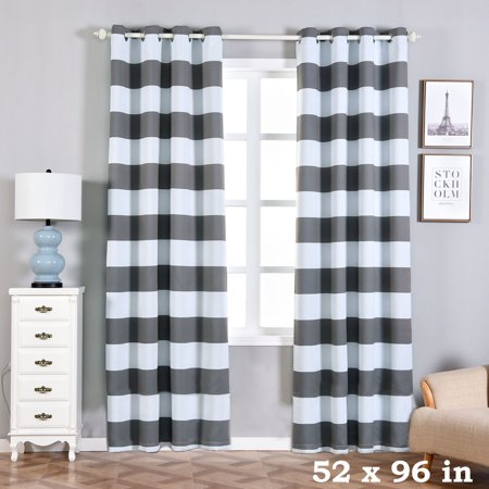 BalsaCircle 52 x 96-Inch Cabana Stripe Curtains Drapes Panels with Grommet Window Treatments - Home Decorations