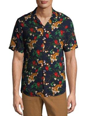 C/M by Como Man Men's Tiger Print Camp Shirt