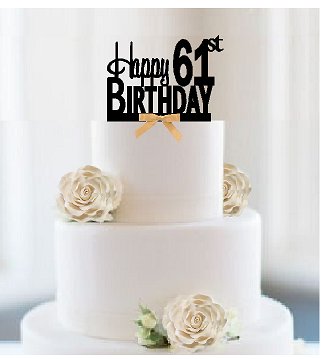 Item#061CTGR - Happy 61st Birthday Elegant Cake Decoration Topper with Gold Bow