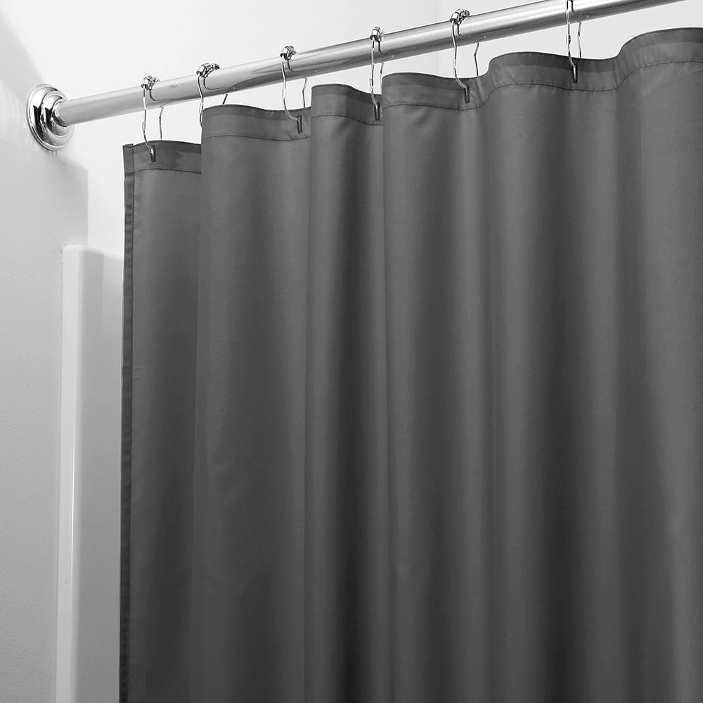 2-in-1 Water Repellant 70 x 72 Polyester Fabric Shower Curtain/Liner