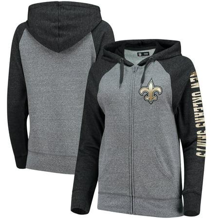 New Orleans Saints 5th Ocean By New Era Women S Fleece Tri Blend Raglan Sleeve Full Zip Hoodie Heathered Gray Black