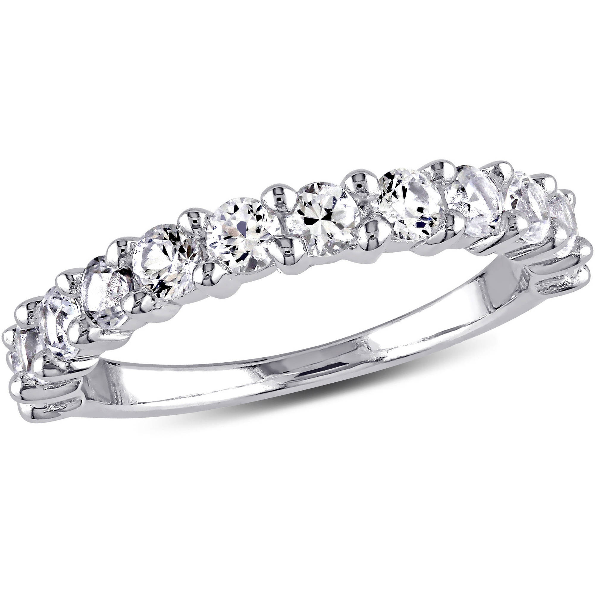 Miabella 1-1/10 Carat T.G.W. Created White Sapphire Sterling Silver Wedding Band