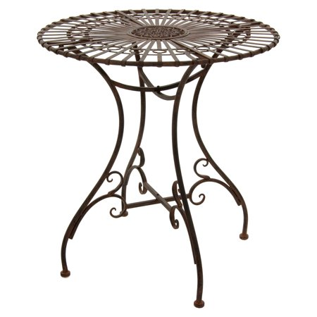 Oriental Furniture Rustic Wrought Iron Round Patio Bistro Table
