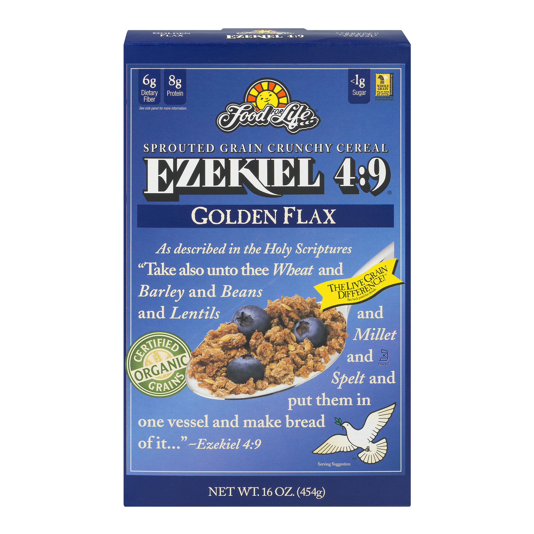Food For Life Ezekiel 4:9 Sprouted Whole Grain Crunchy Cereal Golden Flax, 16.0 OZ