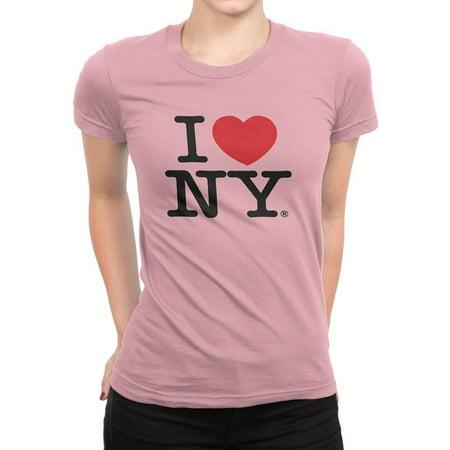 X-Large I Love Ny Pink Ladies Tee New York Womens T-Shirt Heart Nyc Shirt