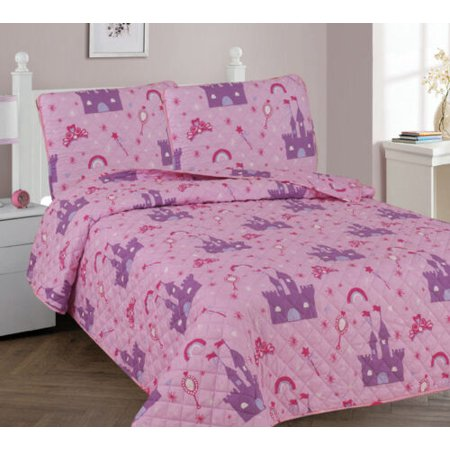 FULL PRINCESS PALACE Kids Coverlet Bedspread Quilted Set with Pillow - Princess Sham
