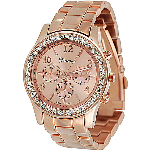 Brinley Co. Women's Rhinestone-Accented Link Watch