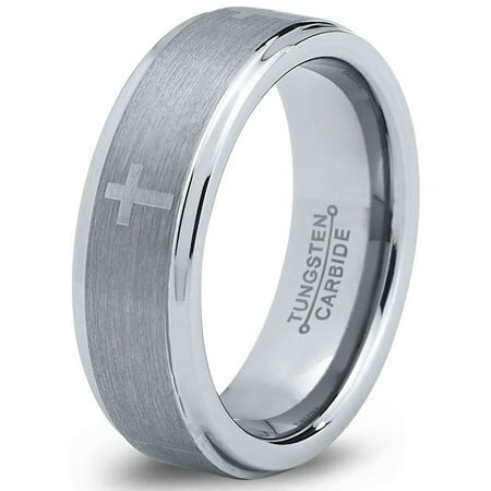 Tungsten Wedding Band Ring 6mm for Men Women Comfort Fit Christian Cross Step Beveled Edge Brushed Lifetime (Comfort Fit Step Edge)