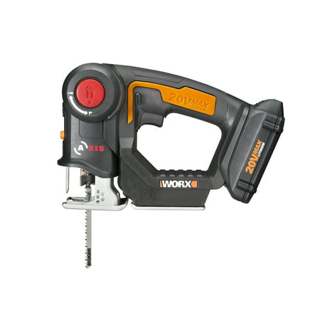 WORX WX550L 20V Axis 2-In-1 Reciprocating Saw And Jigsaw With Orbital Mode, Variable Speed And - Bi Metal Wood Reciprocating Saw