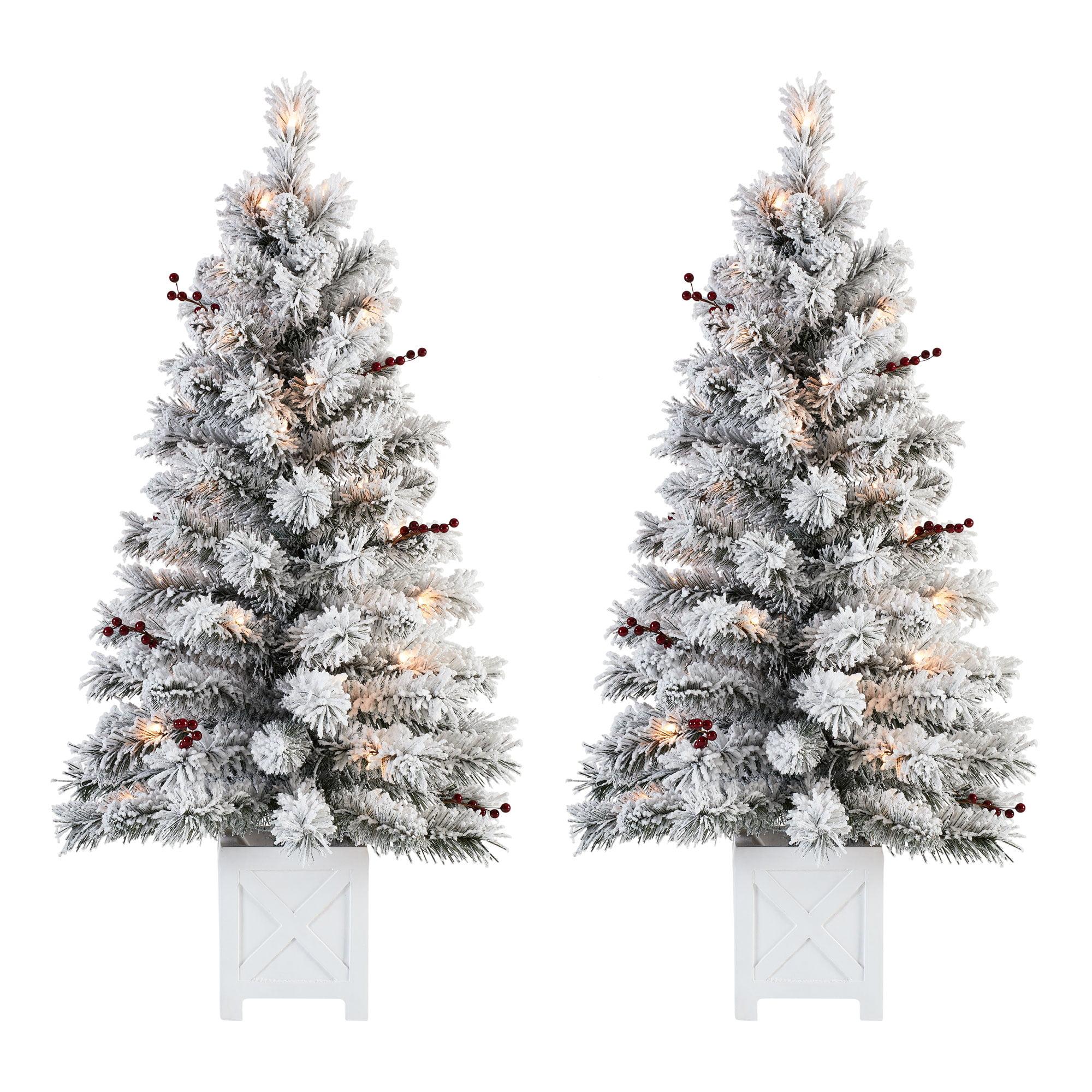 Holiday Time Pre Lit Flocked Potted Tree Christmas Decoration Set Of 2 Warm White Walmart Com Walmart Com