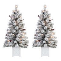 Holiday Time Pre-Lit Flocked Potted Tree Christmas Decoration, Set of 2, Warm White