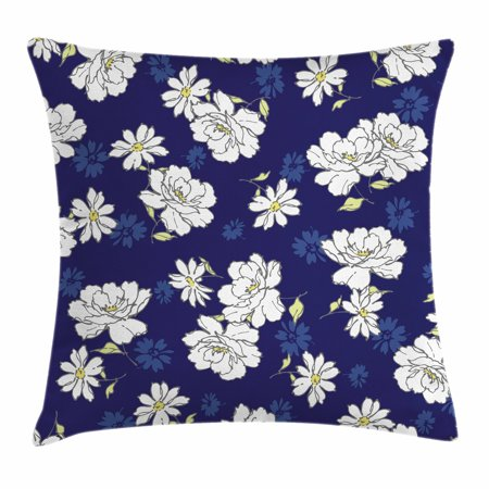 Navy And White Throw Pillow Cushion Cover Gentility Of The Spring