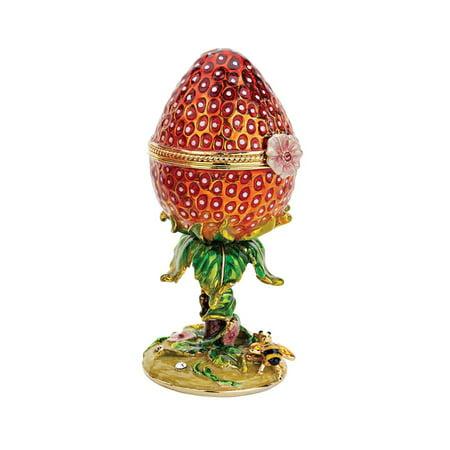 A Garden Strawberry Treasure Faberge Style Enameled Egg