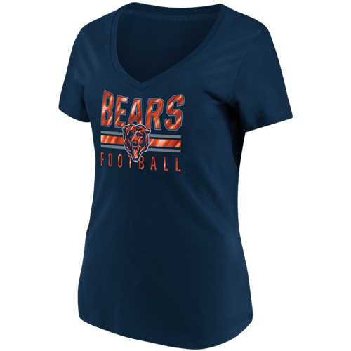 Women's Majestic Navy Chicago Bears Game Day Style V-Neck T-Shirt