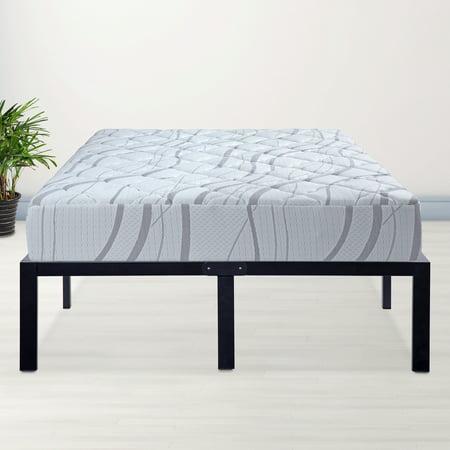 granrest 14 platform metal platform bed frame with wood slat mattress foundation queen - Wood Slat Bed Frame Queen
