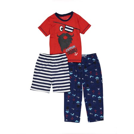 Captain America Footie Pajamas (Captain Trouble Shirt, Shorts & Pants, 3pc Pajama Set (Toddler)
