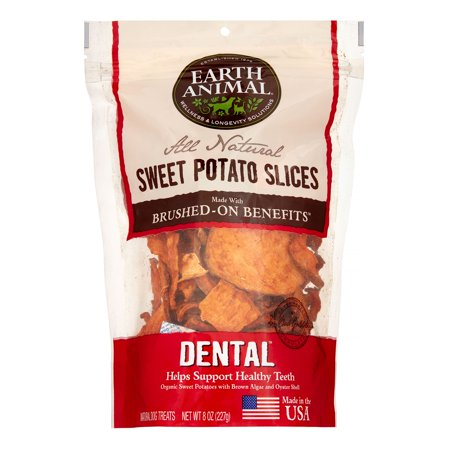 Earth Animal Dental Brushed-On Benefit Sweet Potato Slices Dog Treats, 8 Oz - Simple Halloween Sweet Treats