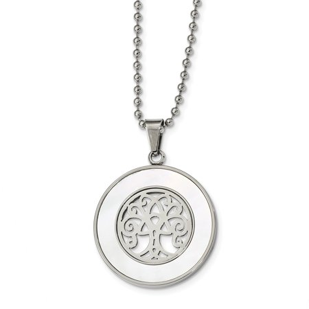 Mia Diamonds Stainless Steel Polished with Mother of Pearl Tree of Life 22in Necklace Chain